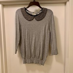 Grey Embellished Collar LC Sweater